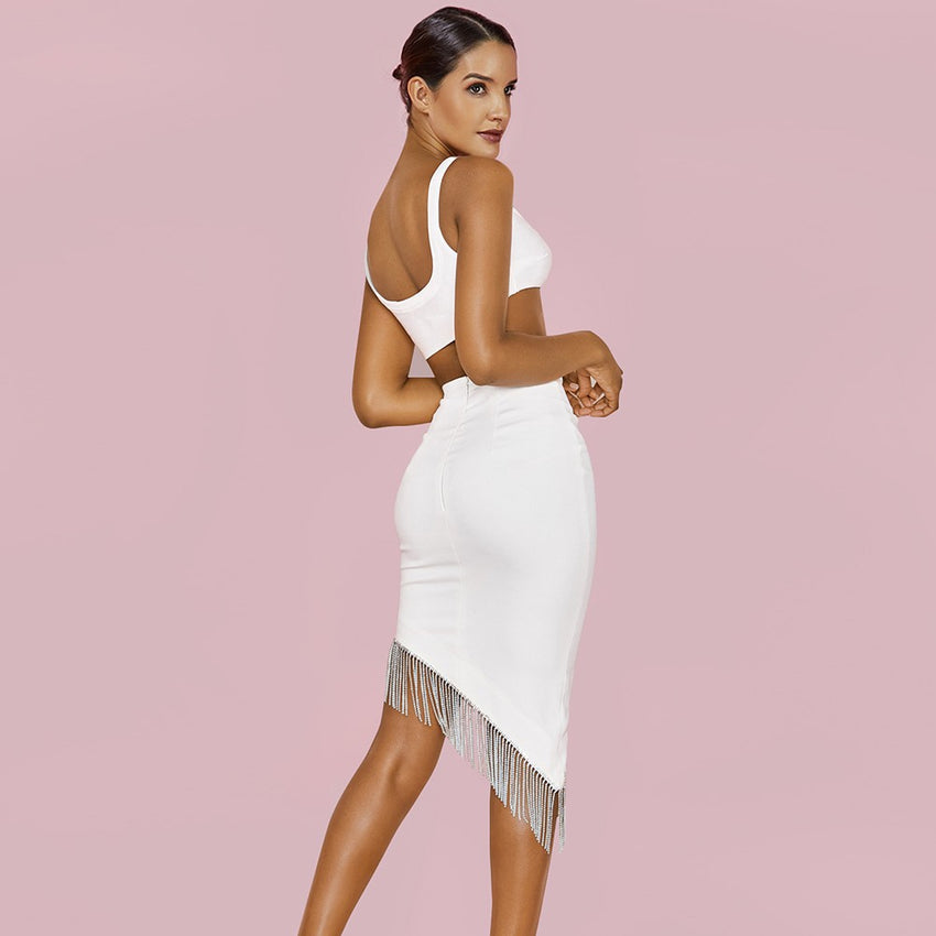 White 2 Piece Crop Top and Tassel Bandage Skirt - Rumor Apparel