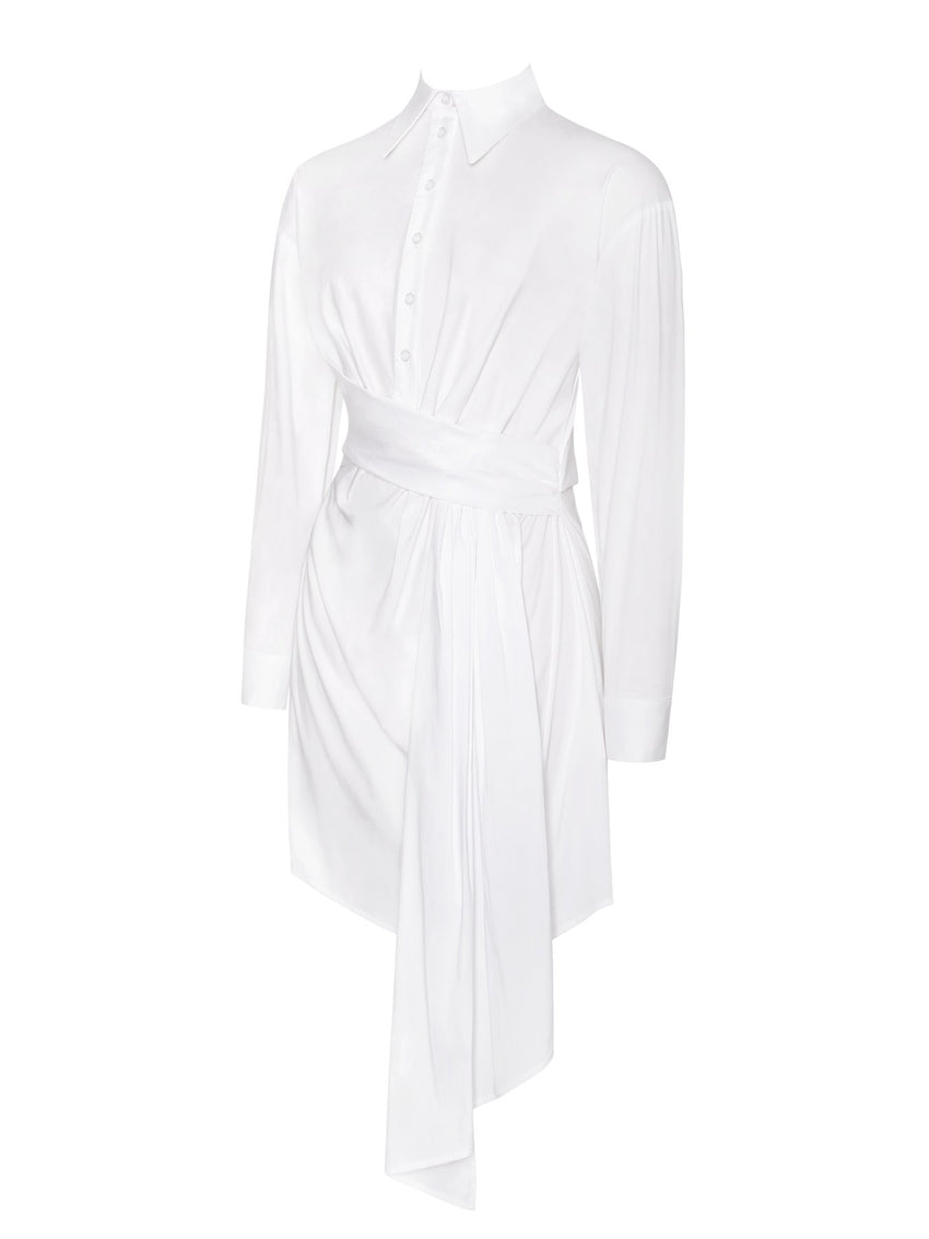 White Draped Stretchy Boyfriend Shirt Dress - Rumor Apparel