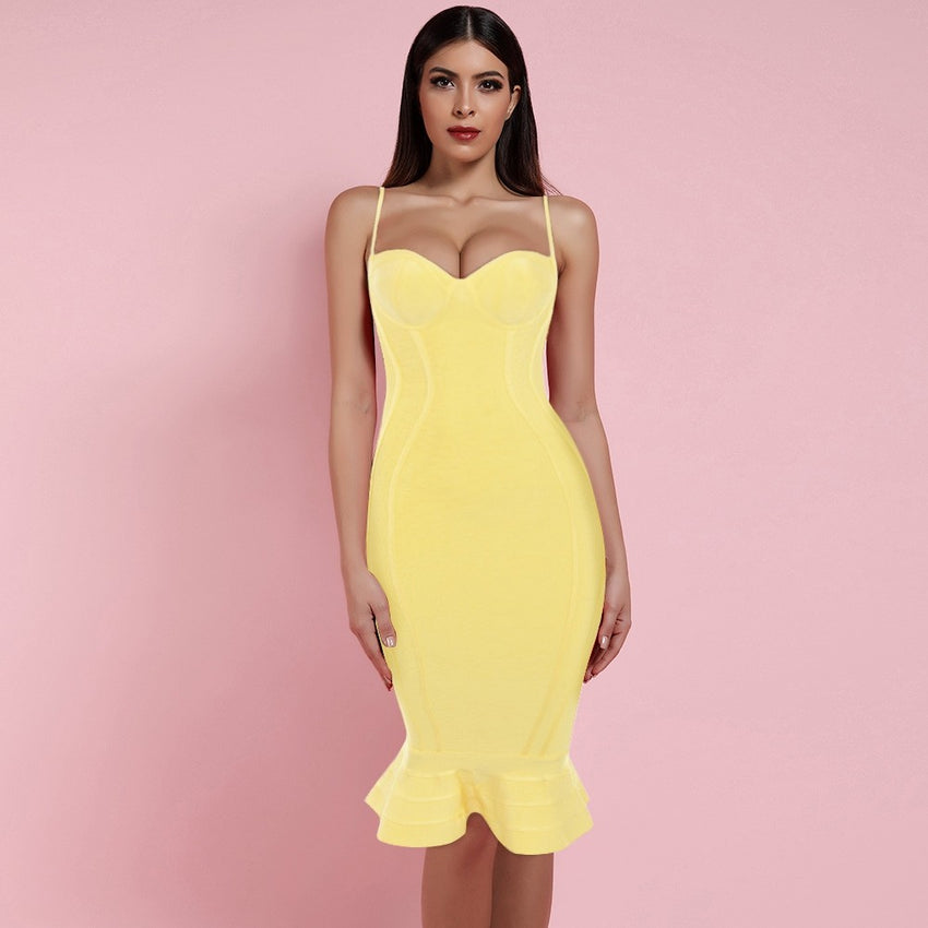Yellow Spaghetti Strap Midi Bandage Dress - Rumor Apparel