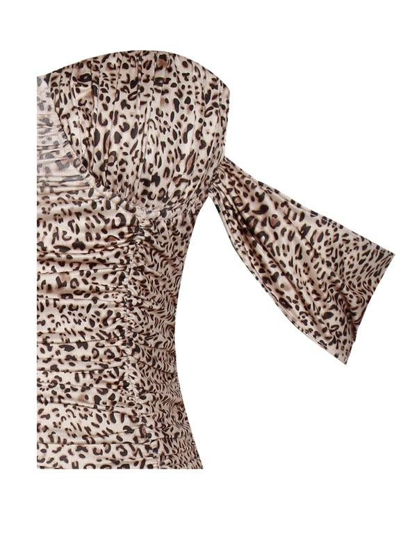 Leopard Draping Strap Ruched Stretch Crepe Dress - Rumor Apparel