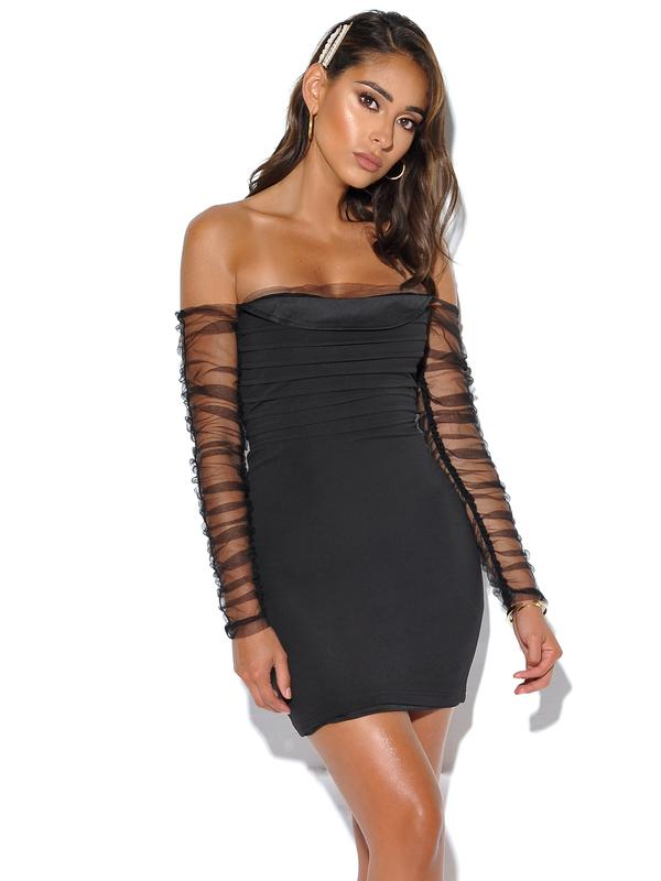 Mesh Sleeve Black Stretch Crepe Dress - Rumor Apparel