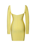 Long Sleeve Bandage Dress In Lemon - Rumor Apparel
