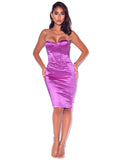 Strapless Bustier Satin Dress - Rumor Apparel