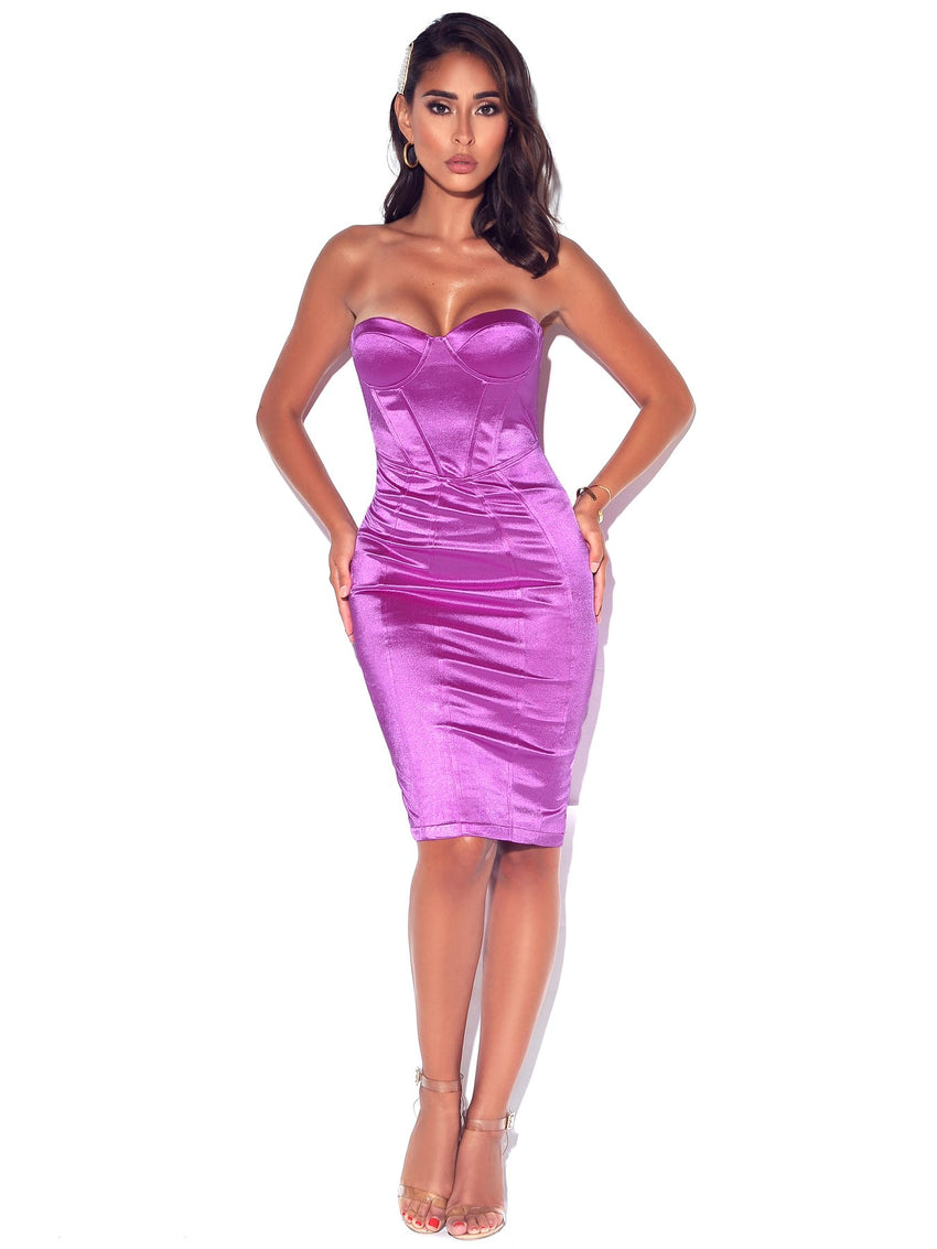 Strapless Bustier Satin Dress