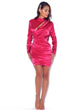 Long Sleeve Cut Out Fuchsia Satin Dress - Rumor Apparel