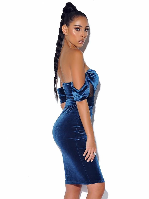 Off Shoulder Velvet Dress With Mesh - Rumor Apparel