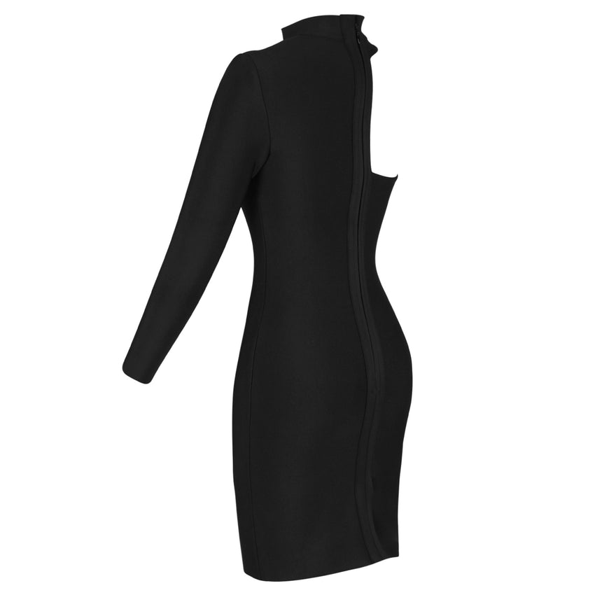 Black One Sleeve Asymmetrical Bandage Dress - Rumor Apparel