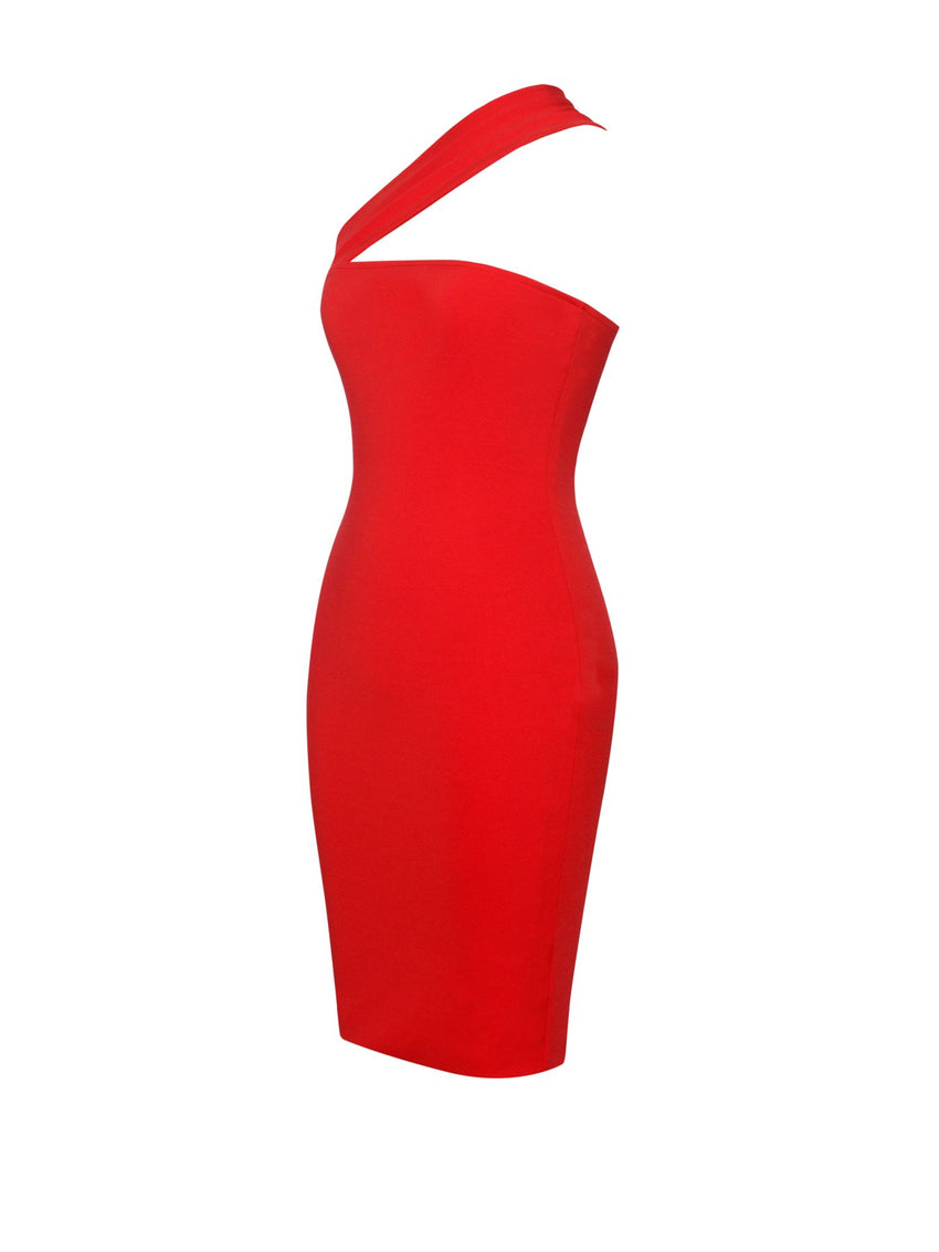 Red One Shoulder Wrap Stretch Crepe Dress - Rumor Apparel