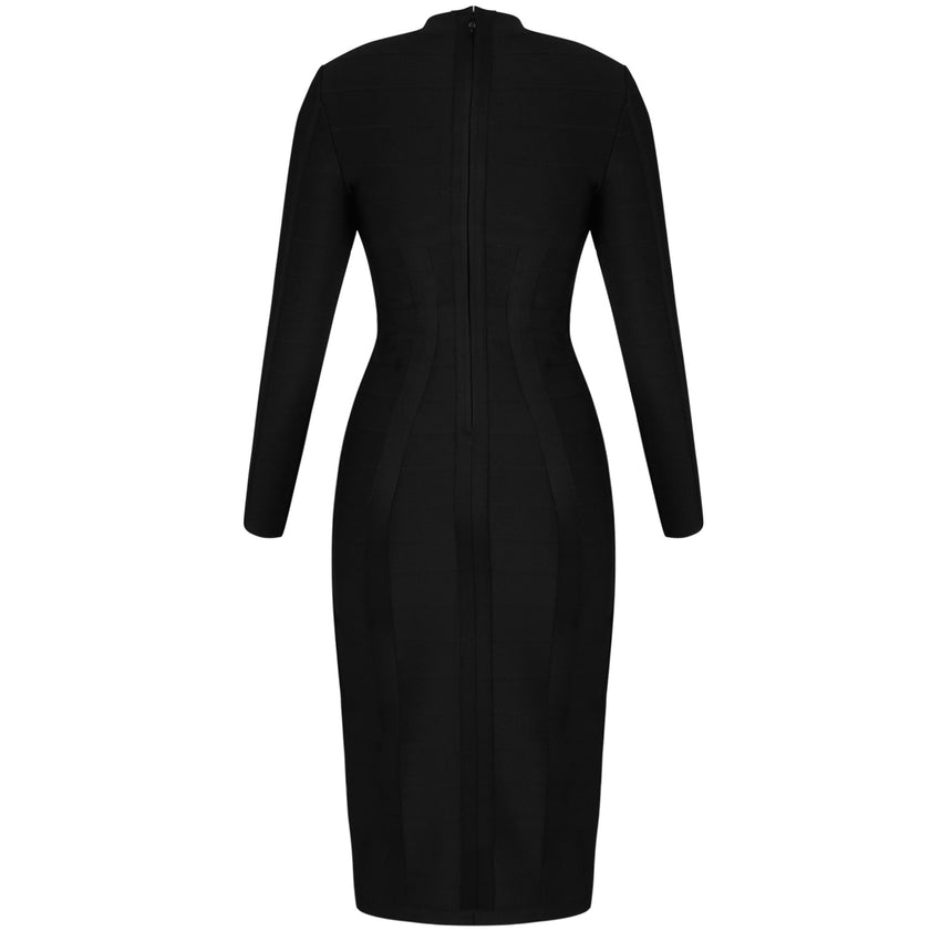 Black Long Sleeve Cutout Midi Bandage Dress