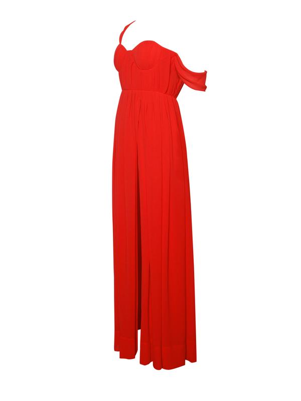 High Slit Red Chiffon Maxi Dress