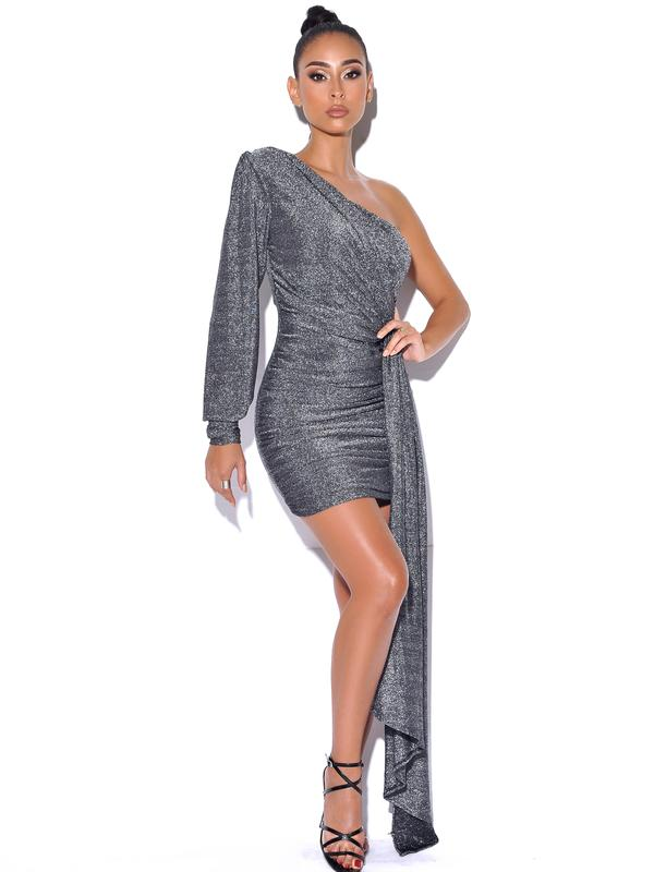 One Sleeve Draping Silver Metallic Dress