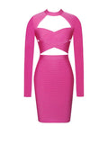 Pink Long Sleeve Cutout Bandage Dress