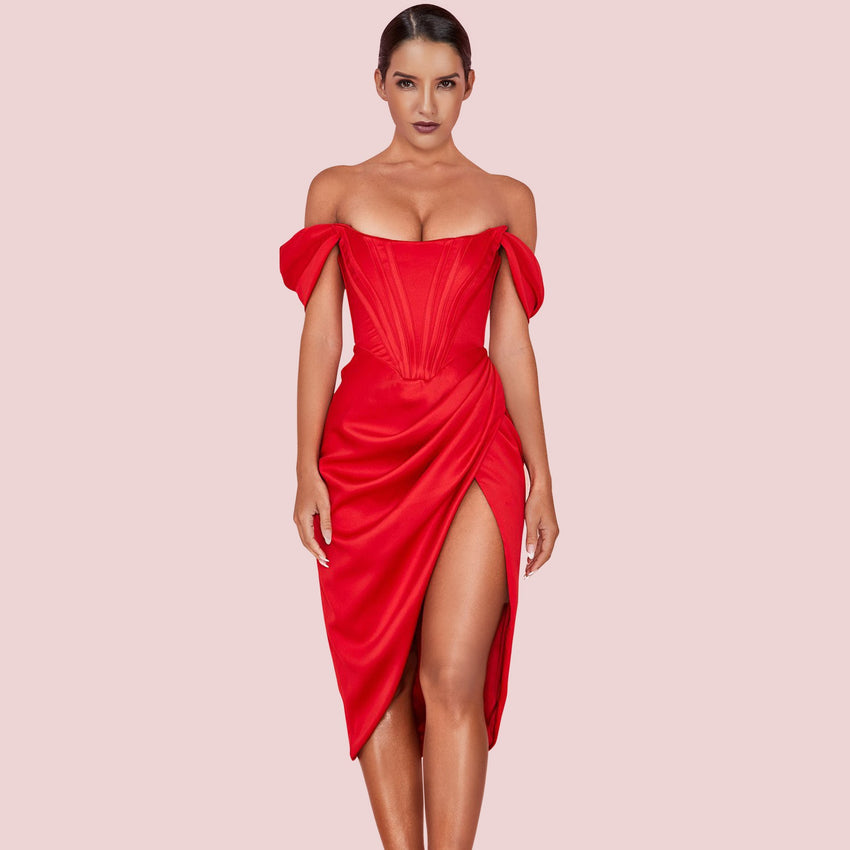 Red Off Shoulder Side Slit Midi Dress - Rumor Apparel