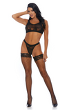 2pc Bra & Panty Mesh Lingerie Set w/ Lace Contrast - Rumor Apparel