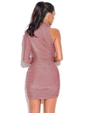 Rose Gold Metallic One Sleeve Dress - Rumor Apparel