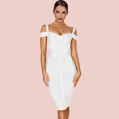 White Strappy Midi Bandage Dress - Rumor Apparel