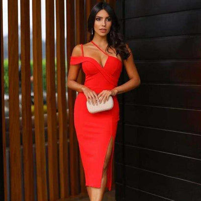 Red Strappy Short Sleeve Slit Bandage Dress - Rumor Apparel