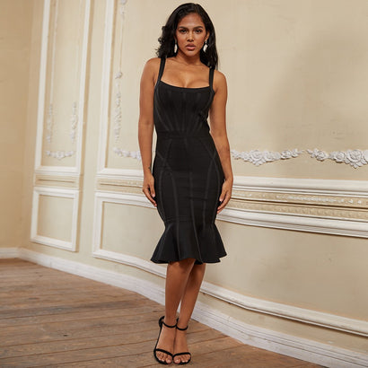 Black Spaghetti Strap Midi Bandage Dress - Rumor Apparel
