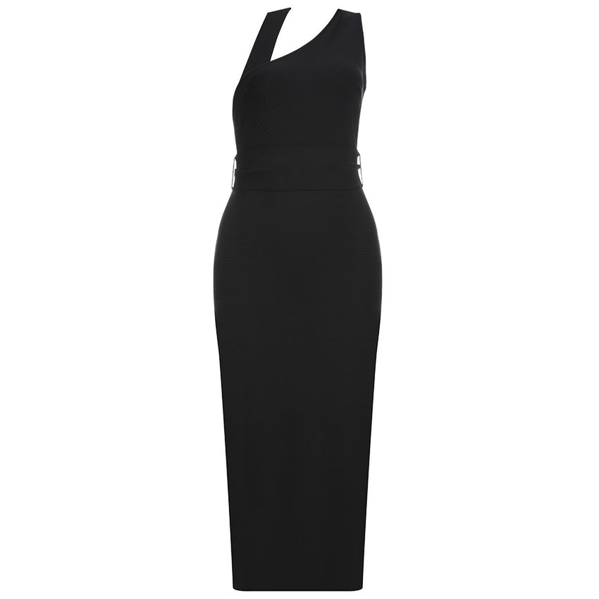 Black Halter Top Tie Waist Midi Bandage Dress - Rumor Apparel