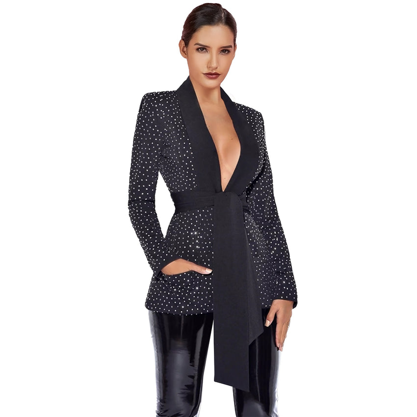 Black Deep V Neck Long Sleeve Tie Rhinestone Blazer Jacket - Rumor Apparel