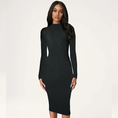 Black Backless Long Sleeve Bandage Dress - Rumor Apparel
