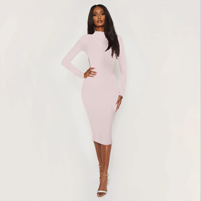 Light Pink Backless Long Sleeve Bandage Dress - Rumor Apparel