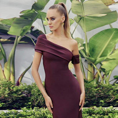 Burgundy Asymmetrical One Shoulder Midi Bandage Dress - Rumor Apparel