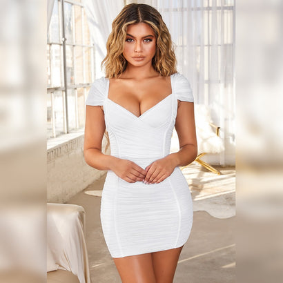 White Cap Sleeve Ruched Mini Bandage Dress - Rumor Apparel