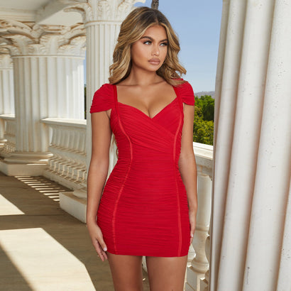 Red Cap Sleeve Ruched Mini Bandage Dress - Rumor Apparel