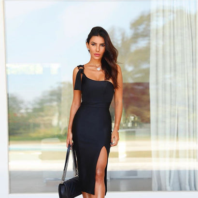 Black One Shoulder Midi Slit Bandage Dress - Rumor Apparel