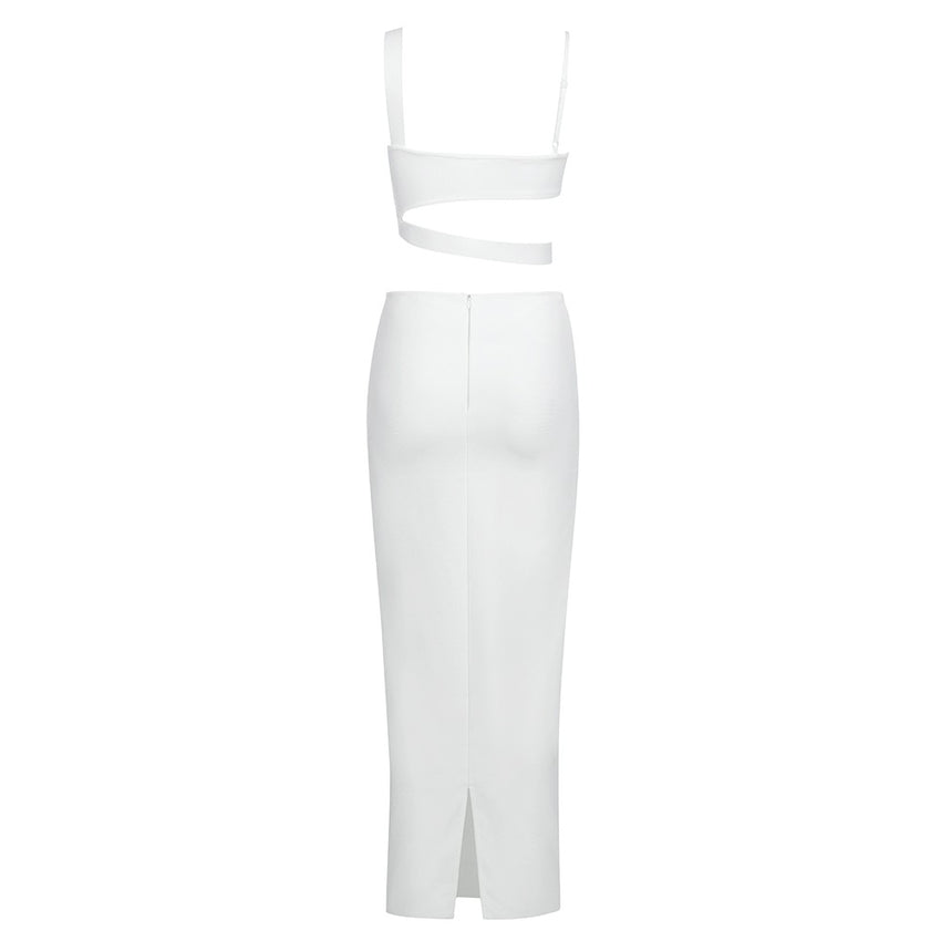 White Sleeveless Strappy Crop Top & Skirt Bandage Set - Rumor Apparel