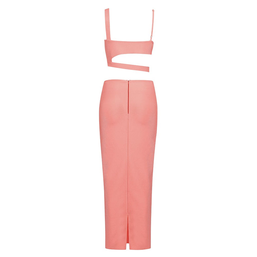 Pink Sleeveless Strappy Crop Top & Skirt Bandage Set - Rumor Apparel