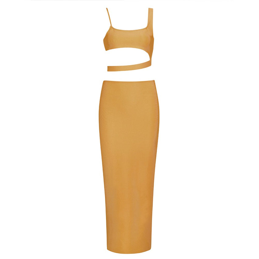 Mustard Sleeveless Strappy Crop Top & Skirt Bandage Set - Rumor Apparel