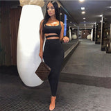 Black Sleeveless Strappy Crop Top & Skirt Bandage Set - Rumor Apparel