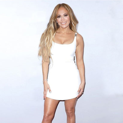 White Sleeveless Buckle Design Bandage Dress - Rumor Apparel