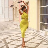 Lime Green Criss Cross Halter Backless Bodycon Dress - Rumor Apparel
