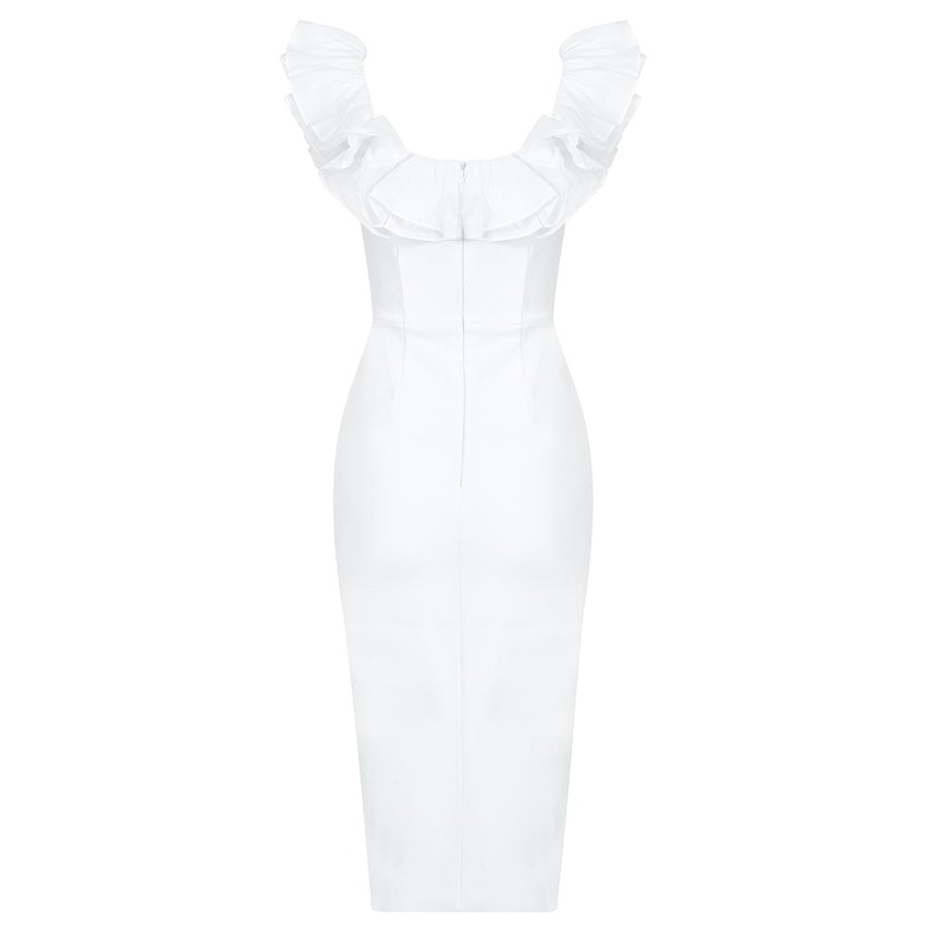 White Ruffle Slit Midi Bandage Dress - Rumor Apparel