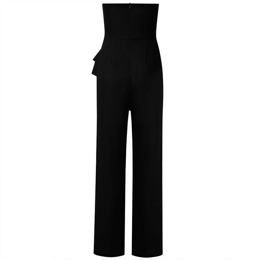 Black Strapless Bodycon Jumpsuit - Rumor Apparel