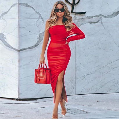 Red One Sleeve Ruched Slit Bodycon Dress - Rumor Apparel