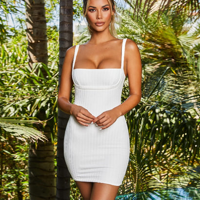 White Strappy Mini Bandage Dress - Rumor Apparel