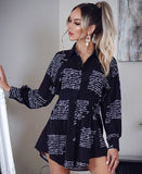 Black Scribble Print Dress - Rumor Apparel