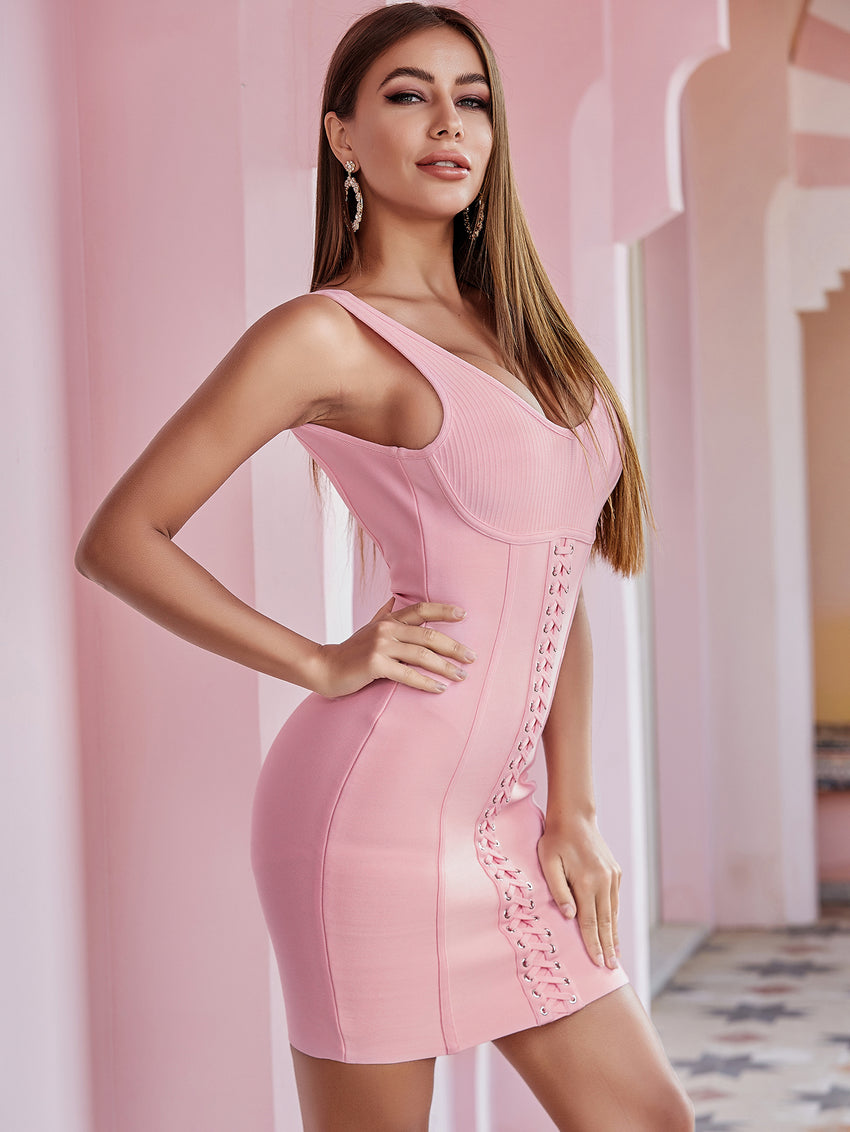 Pink Sleeveless Bodycon Bandage Dress
