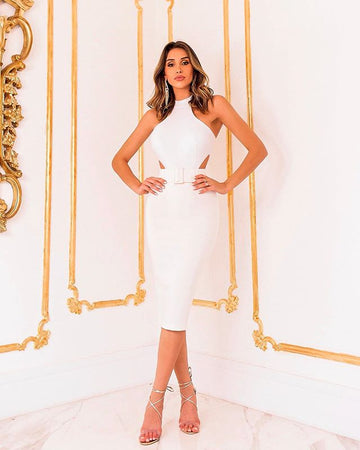 White Mock Neck Cutout Bandage Dress