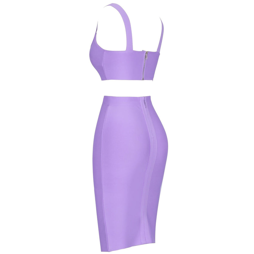Purple 2 Piece Bandage Crop Top and Midi Skirt
