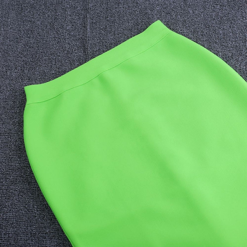Neon Green 2 Piece Bandage Crop Top and Midi Skirt