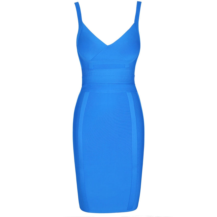 Blue Spaghetti Strap Bandage Dress