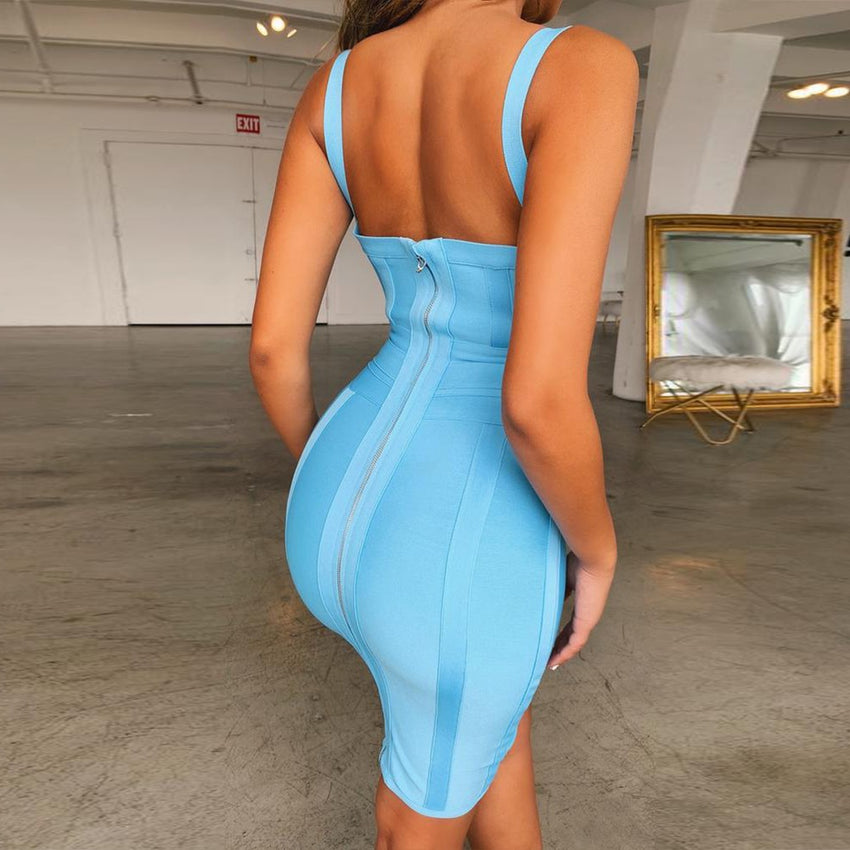 Light Blue Spaghetti Strap Bandage Dress