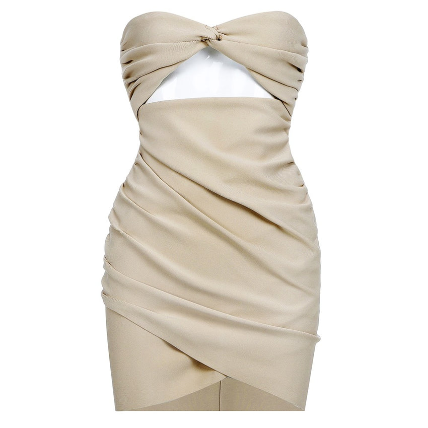 Nude Strapless Cut Out Bandage Dress