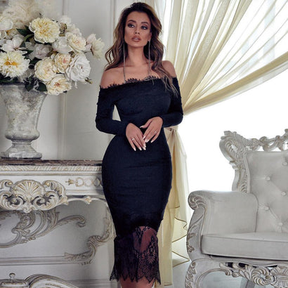 Black Off Shoulder Long Sleeve Lace Over The Knee Bandage Dress