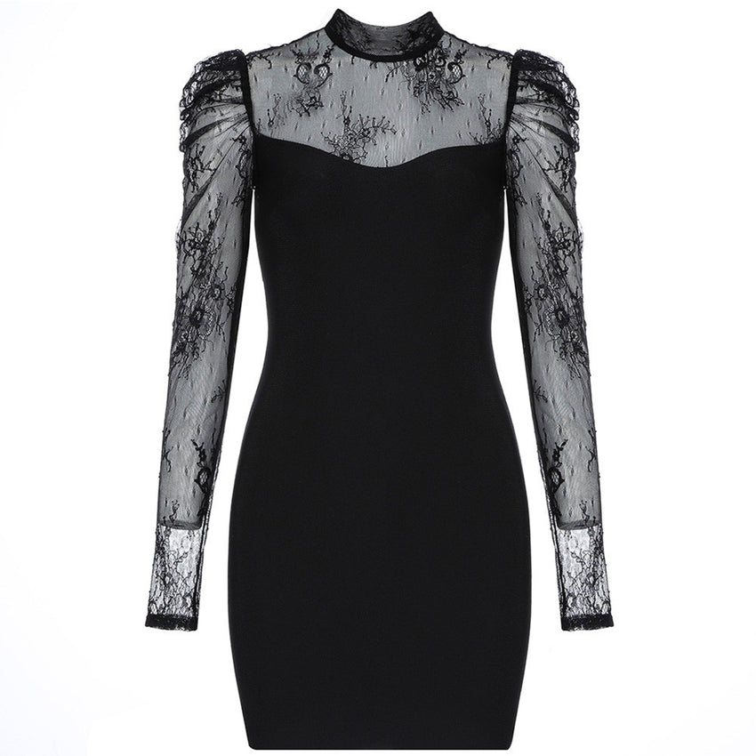 Black Lace Long Sleeve Mini Bandage Dress